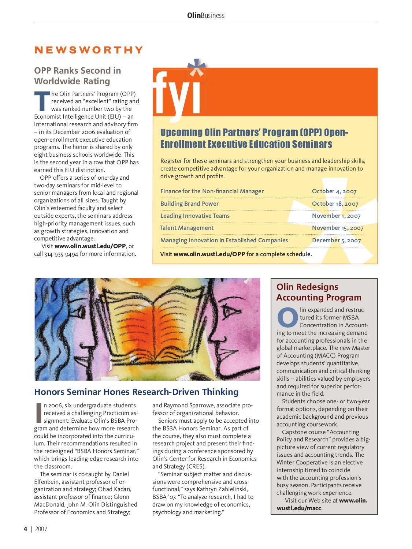 Olin Business Magazine 2007 by Olin Business School - issuu