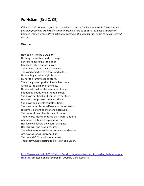 Susan Koefod: Fu Hsüan Poem Woman By Dana Kooistra