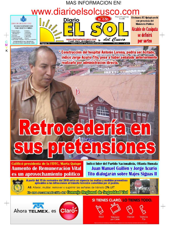 DIARIO EL SOL DEL CUSCO EDICION 12/11/2010 by Drushba Franklin ...