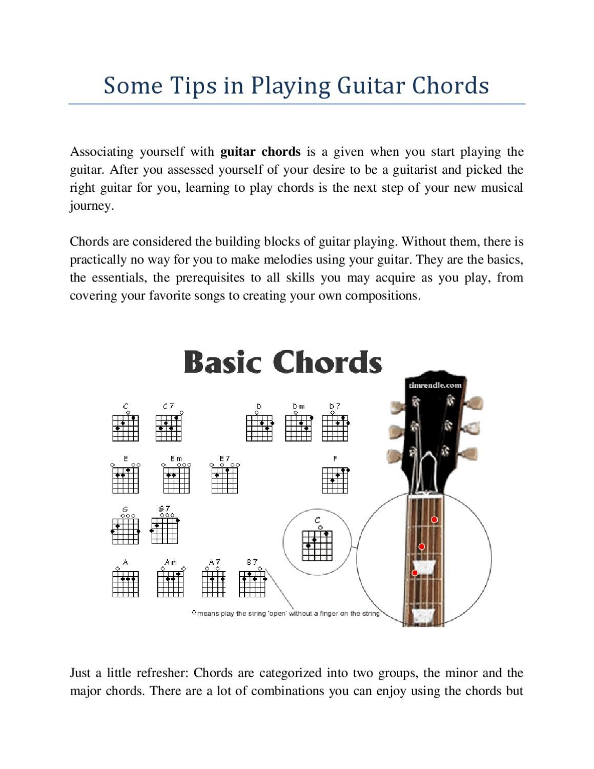 Some Tips In Playing Guitar Chords By Cindee Daniel Issuu