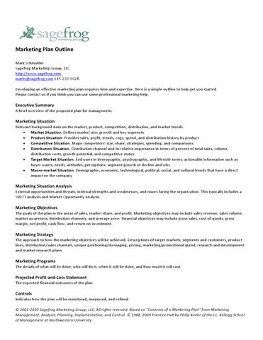 Business Plan Outline Example Template Business Marketing Plan