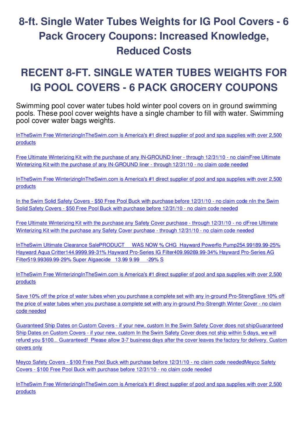 8-ft. single water tubes weights for ig pool covers - 6 pack ...
