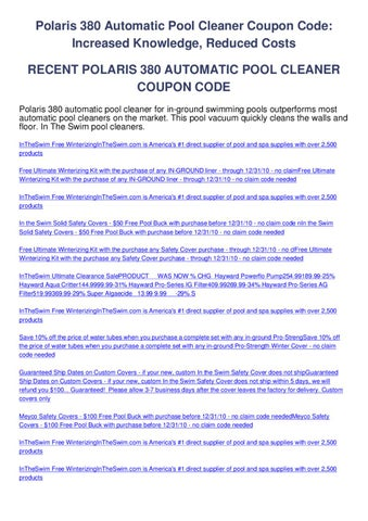 Polaris 380 automatic pool cleaner coupon code by mike