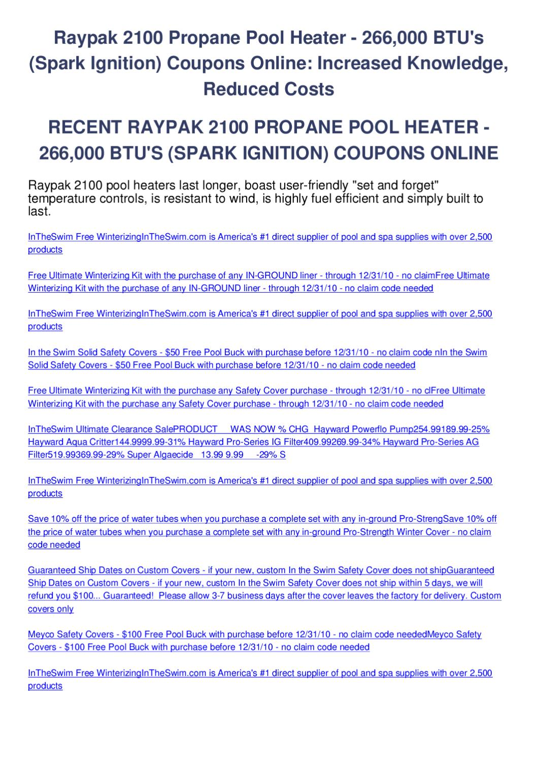 Raypak 2100 Propane Pool Heater 266000 Btus Spark Ignition Coupons