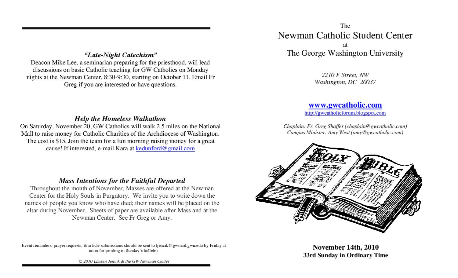 GW NCSC Bulletin for the week of 11/14 by Newman Catholic