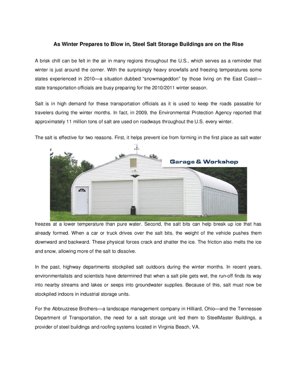 As Winter Prepares to Blow in, Steel Salt Storage Buildings