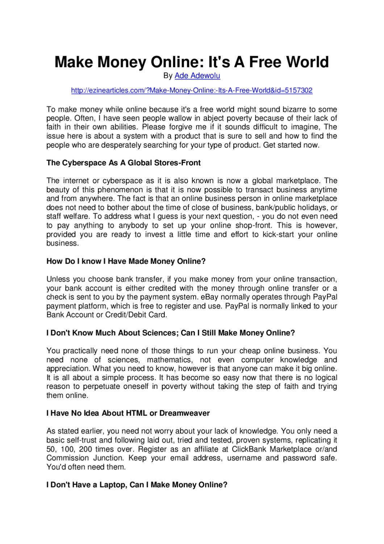 Make Money Online - Its A Free World by ADE ADEWOLU - issuu