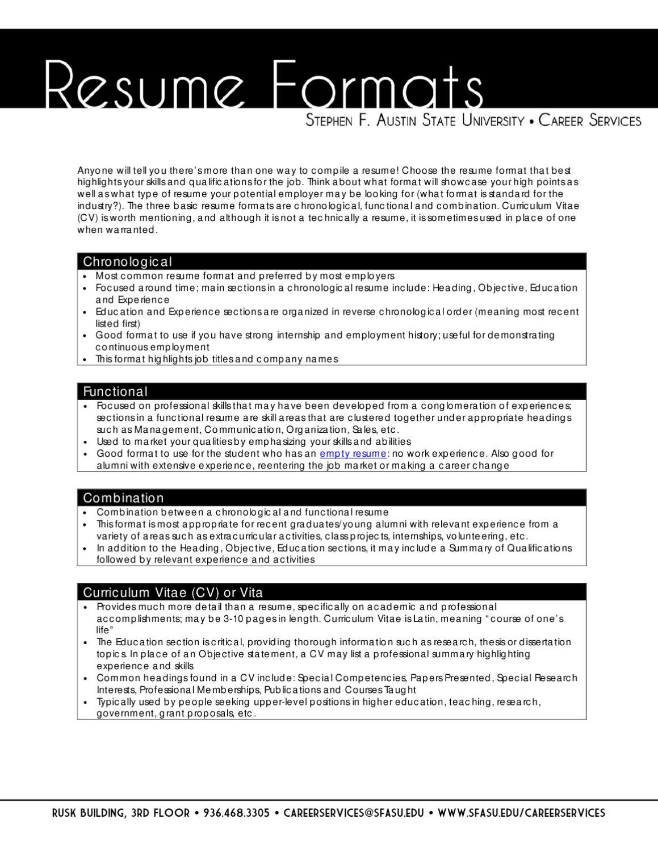Resume Formats By Sfa Careers Issuu