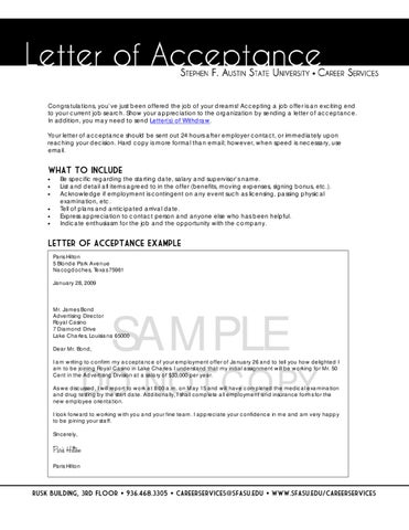 Letter of Acceptance by SFA Careers - issuu