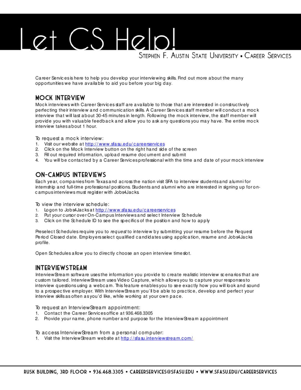 Let CS Help! by SFA Careers - issuu