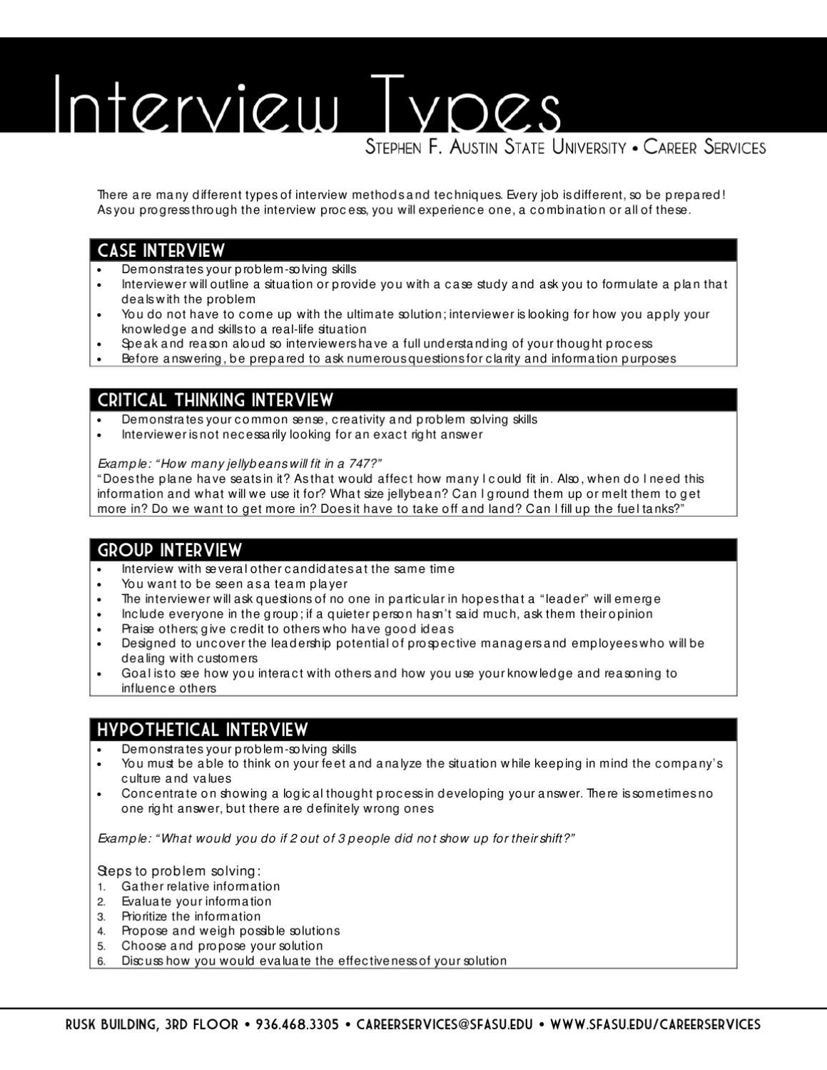 Interview Types by SFA Careers - issuu