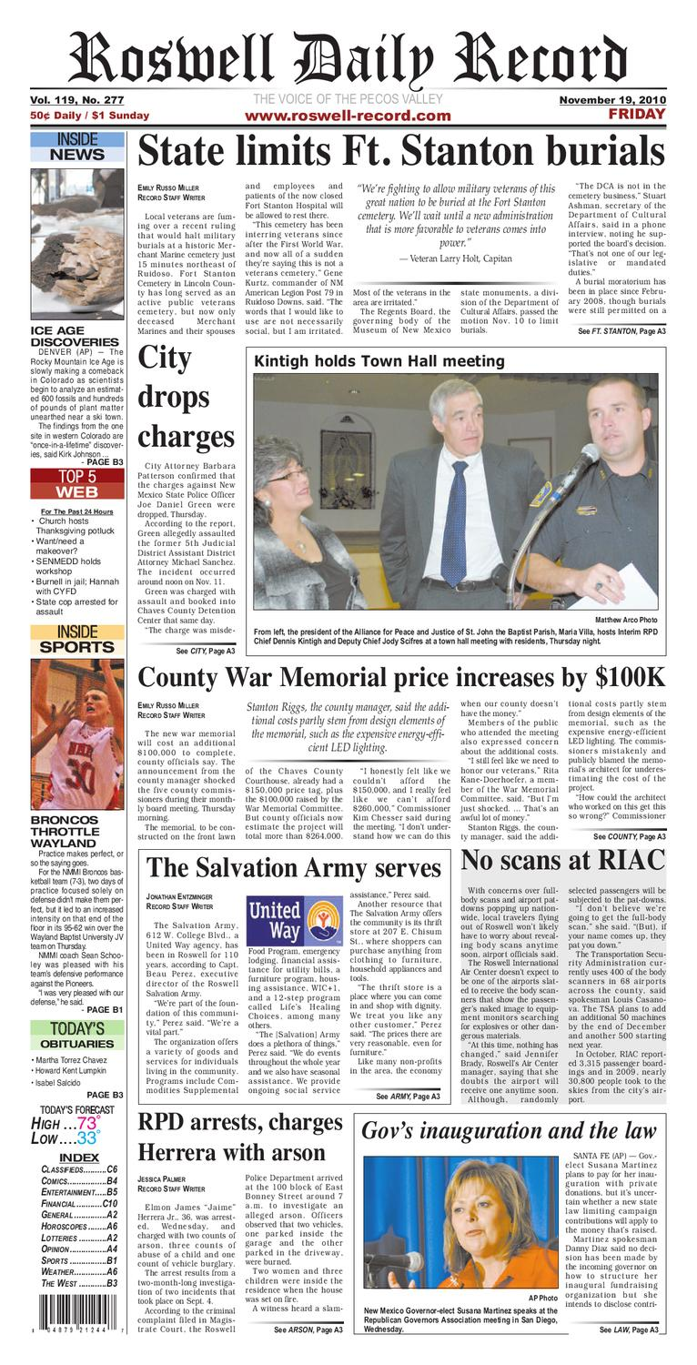 11-19-2010 by Roswell Daily Record - issuu