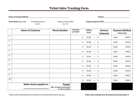 ticket sales tracking sheet