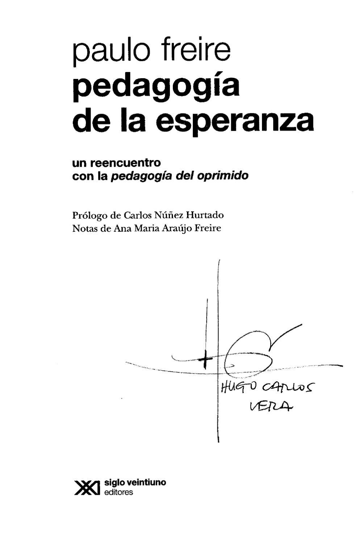 Pedagogía de la esperanza by Zinias Abel - issuu