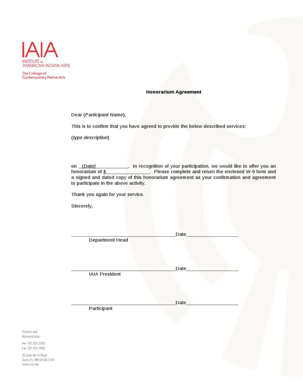honorarium agreement
