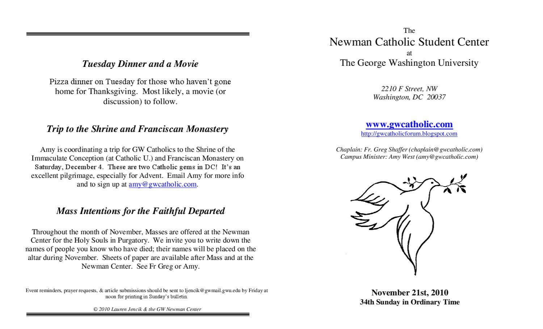 GW Newman Center Bulletin 11 21 by Newman Catholic Student