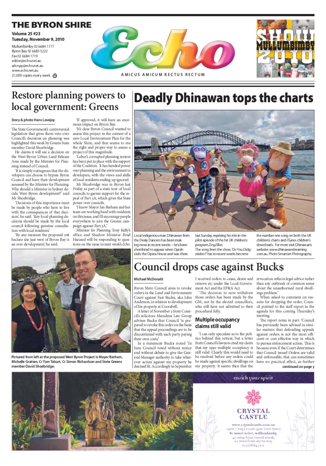 Byron Shire Echo Issue 2523 08 11 2010 By Publications Issuu Sydney Xmas Lights 4 Drysdale Circuit Beaumont Hills Christmas