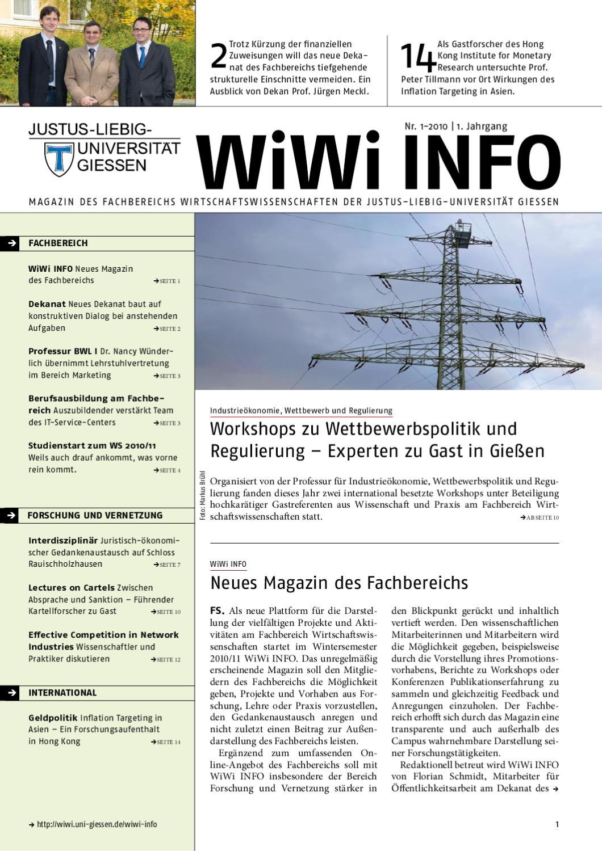 WiWi INFO Nr. 1-2010 | 1. Jahrgang by Fachbereich Wirtschaftswissenschaften  der Justus-Liebig-Universität Gießen - issuu