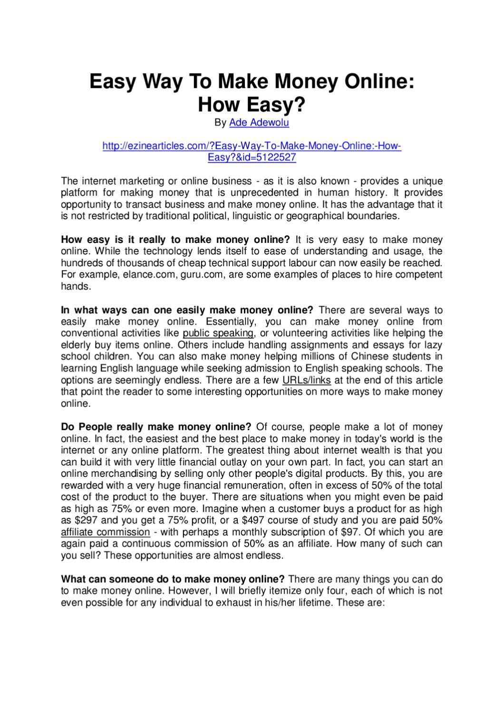 Easy Way To Make Money Online By Ade Adewolu Issuu