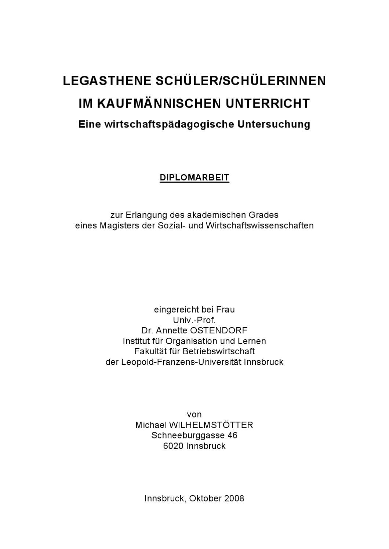 LEGASTHENE SCHÜLER/SCHÜLERINNENIM KAUFMÄNNISCHEN UNTERRICHT by ...