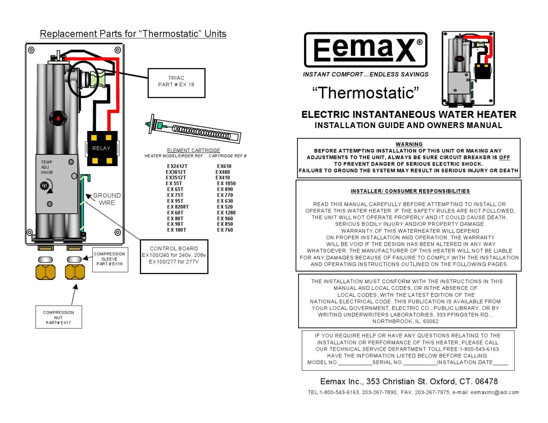 manual del usuario boiler de paso electrico 9 5 kw 220v  con termostato para 1 regadera mod