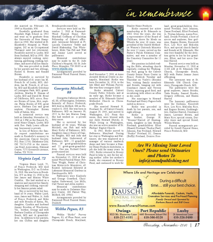 Southern Calvert Gazette -- November 24, 2010 by David Noss - issuu