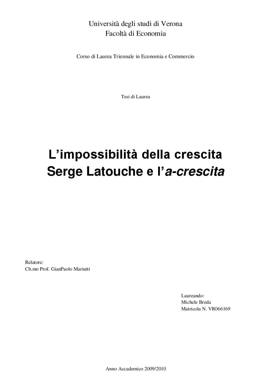 Schemi Elettrici Lesa : Limpossibilità della crescita. serge latouche e la crescita by