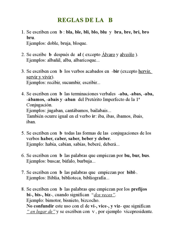 Reglas de ortograf a de las letras b y v by amador for La b b