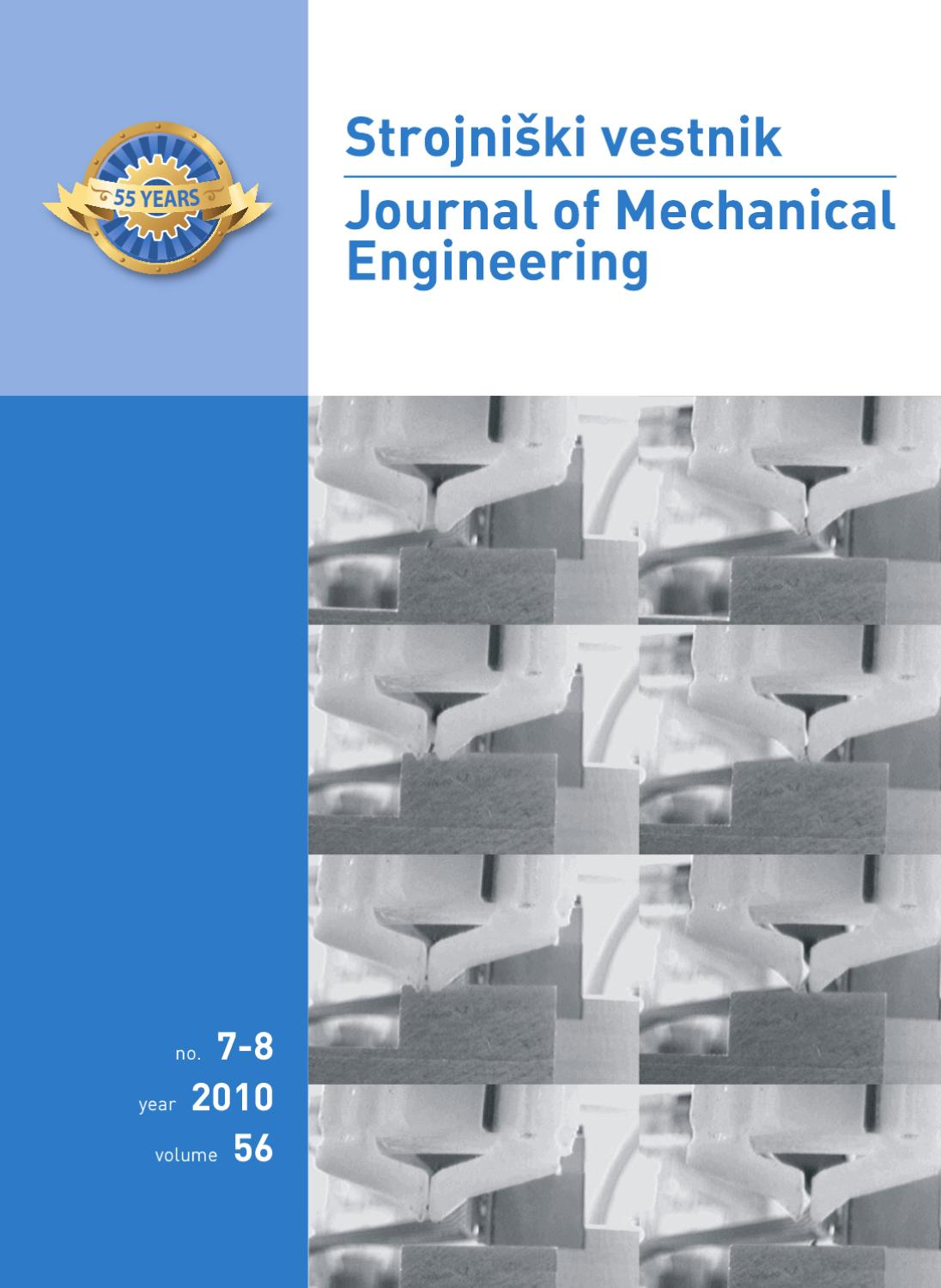 Journal Of Mechanical Engineering Strojniki Vestnik 7 8 2010 By 1988 Jeep Wrangler Wiring Harness Install Feelin 39 Burned Jp Newsroom Slovenia Issuu