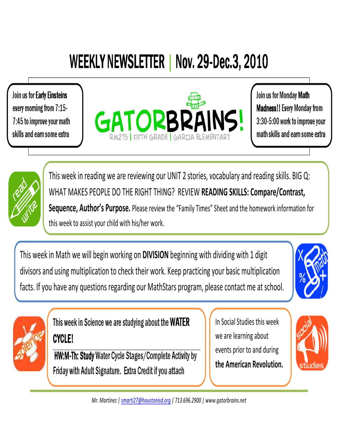 Workbooks water cycle worksheets for grade 2 : Weekly Newsletter | Nov 29 by mr. mtz - issuu