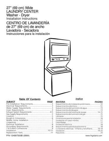 Instrucciones instalacion centro de lavado vertical 14 kgs - Medidas de lavadoras y secadoras ...