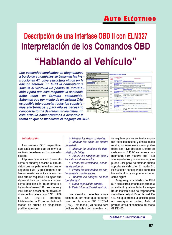 """OBD II con ELM327 Interpretación de los Comandos OBD """"Hablando al ..."""