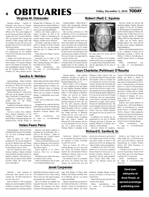Saratoga Today Newspaper December 03, 2010