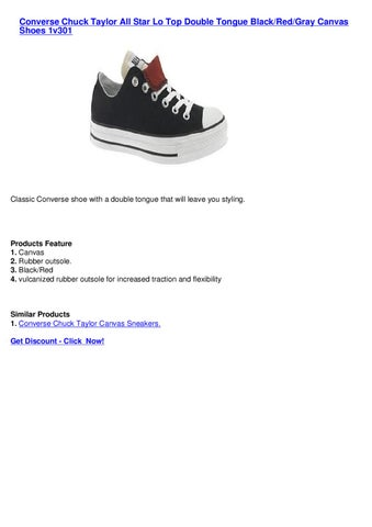 314c8ca27 Converse Chuck Taylor All Star Lo Top Double Tongue BlackRedGray Canvas  Shoes 1v301