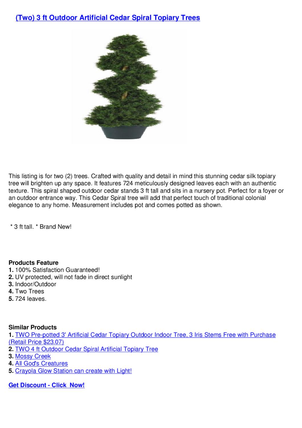 Two 3 Ft Outdoor Artificial Cedar Spiral Topiary Trees By Crismas Tree Issuu