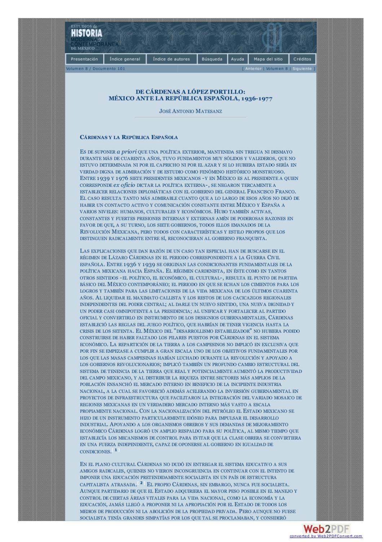 De Cárdenas a López Portillo. México ante la República Española by ...