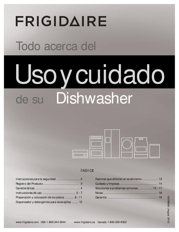 Manual Del Usuario Lavavajillas Acero Inoxidable Frigidaire By H2o  ~ El Lavavajillas Deja Los Vasos Blanquecinos