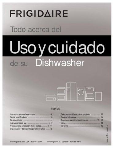 MANUAL DEL USUARIO LAVAVAJILLAS ACERO INOXIDABLE FRIGIDAIRE by H2O ...
