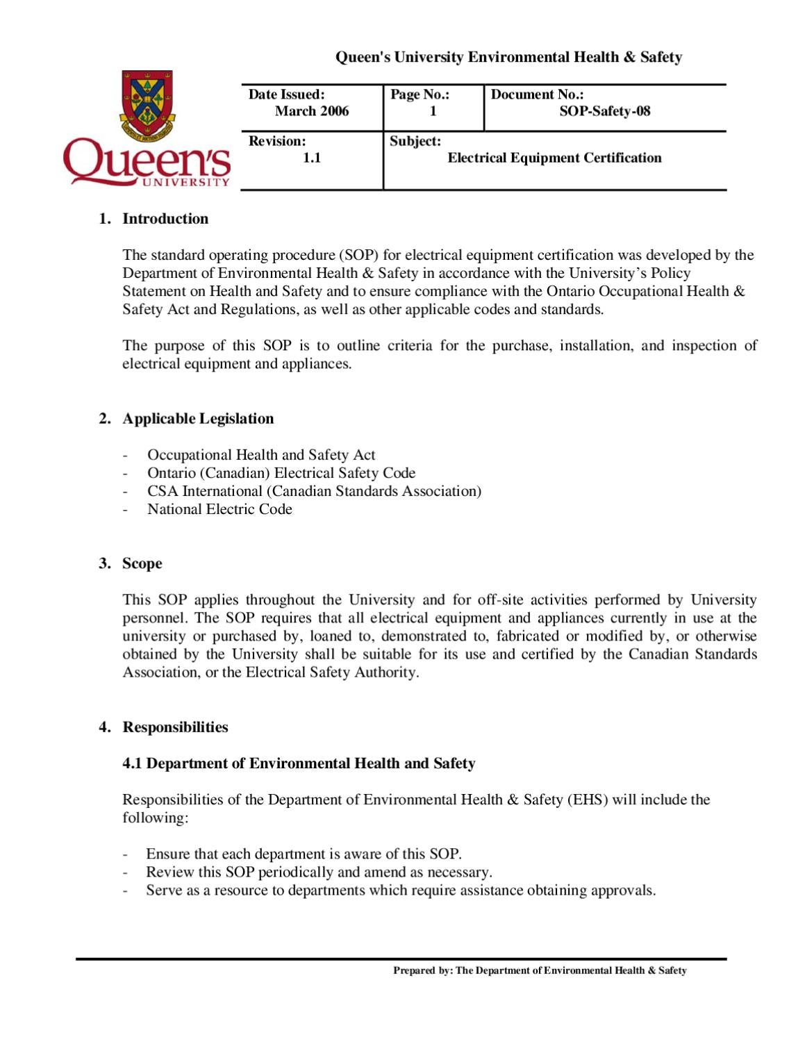 electricalequipmentcertification by Queen\'s Faculty of Engineering ...