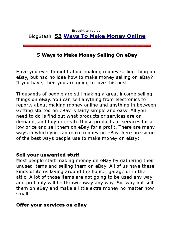 5 Ways To Make Money Selling On Ebay By Saeed Darabi Issuu
