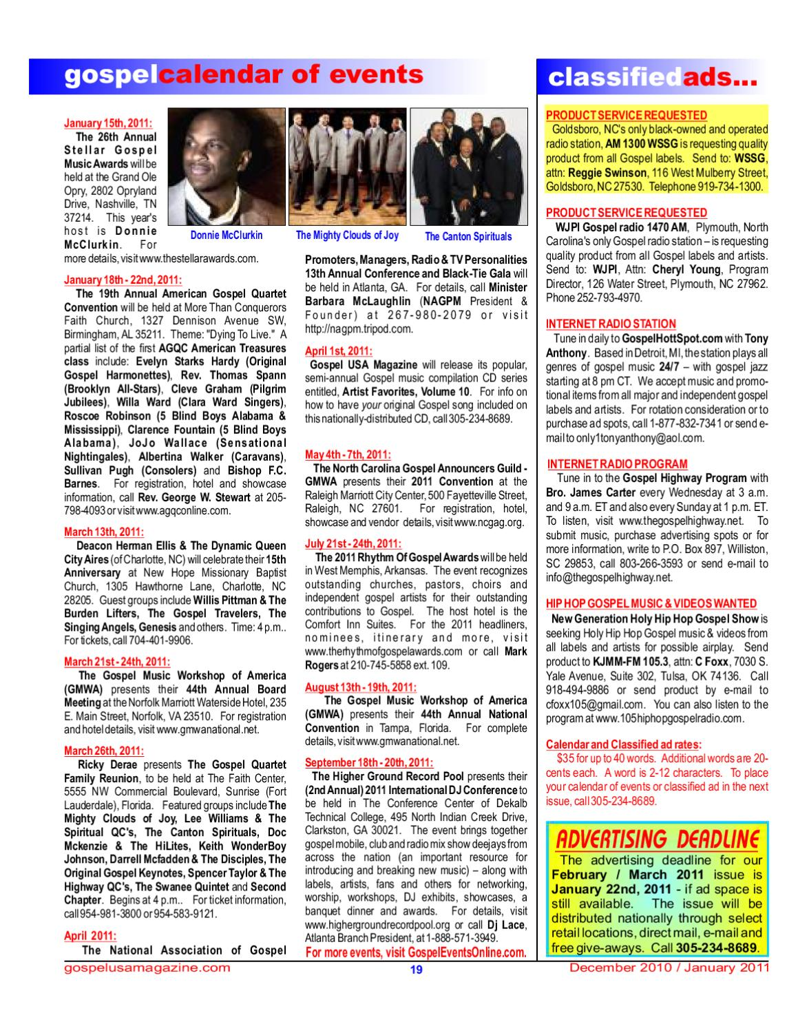 Dec 10 / Jan 11 issue - 20 sample pages by Gospel USA Magazine - issuu
