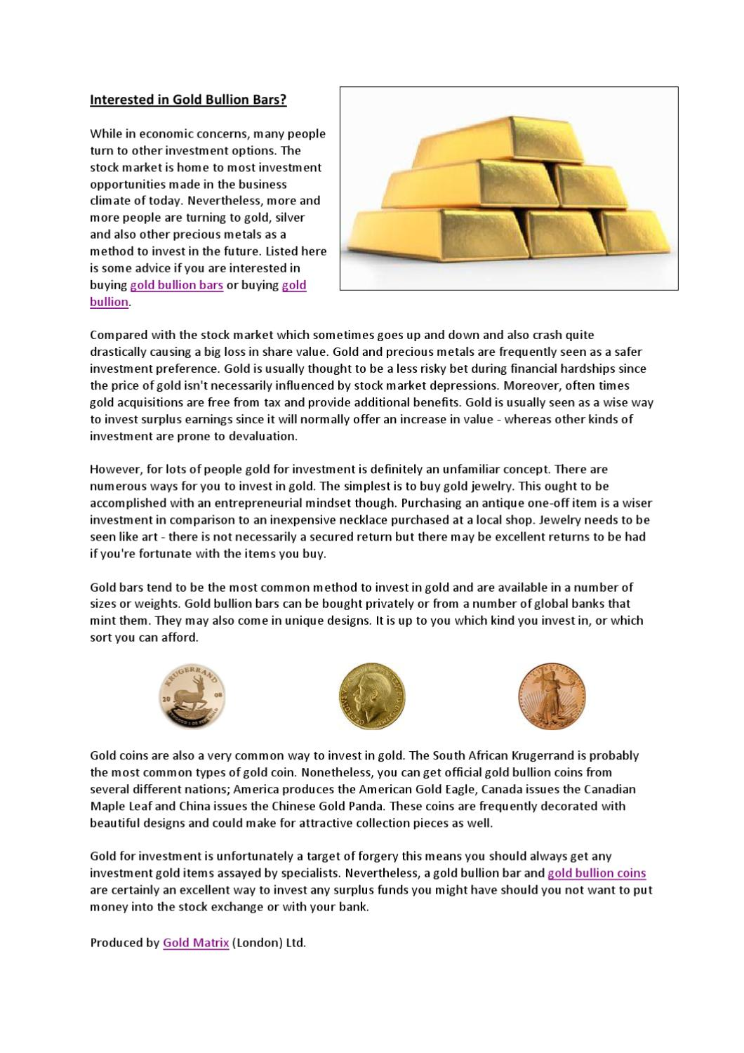 Tips for Gold Investment by Gold Matrix - issuu