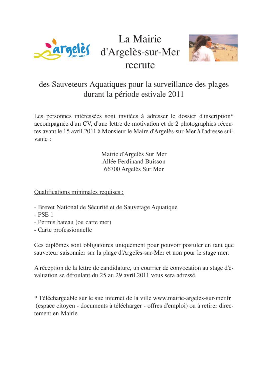 recrutement de sauveteurs aquatiques by argel u00e8s-sur-mer