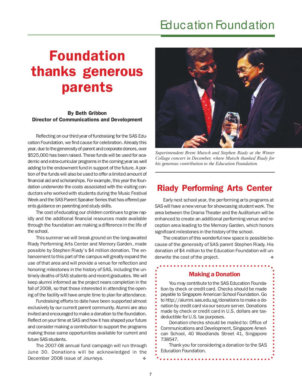 Singapore American School Journeys June 2008, Volume 4 by
