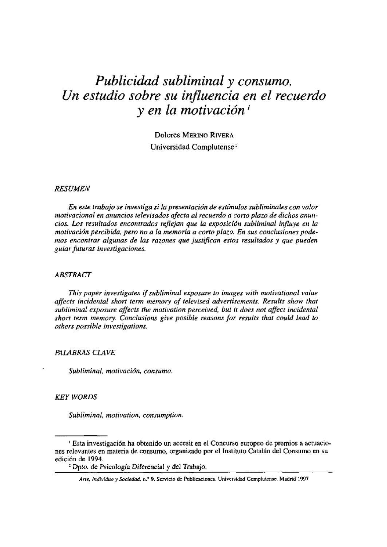 PUBLICIDAD SUBLIMINAL Y CONSUMO by Javier Argota - issuu