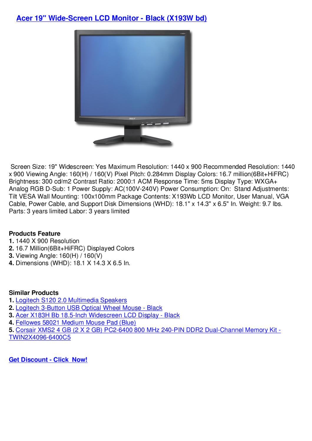 Acer 19 Wide Screen Lcd Monitor Black X193w Bd By Wide