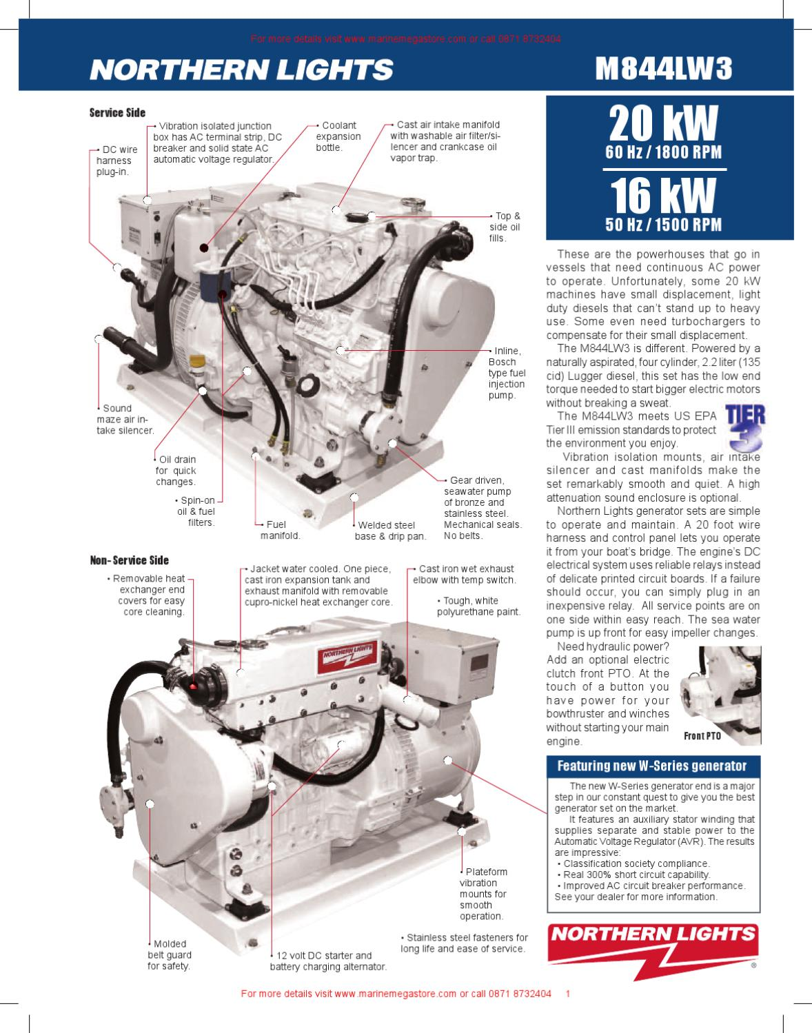 Northern Lights- M844LW3 20-16 kW Northern Lights marine generator