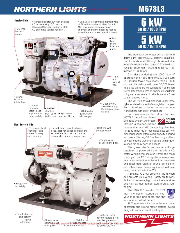Marine Engine Room Lights: 6-5 KW Northern Lights Marine