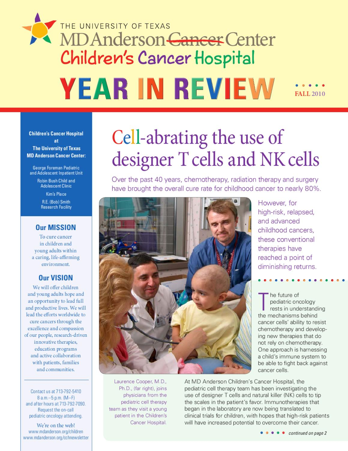 Children's Cancer Hospital Newsletter - Fall 2010 by MD Anderson Cancer  Center - issuu