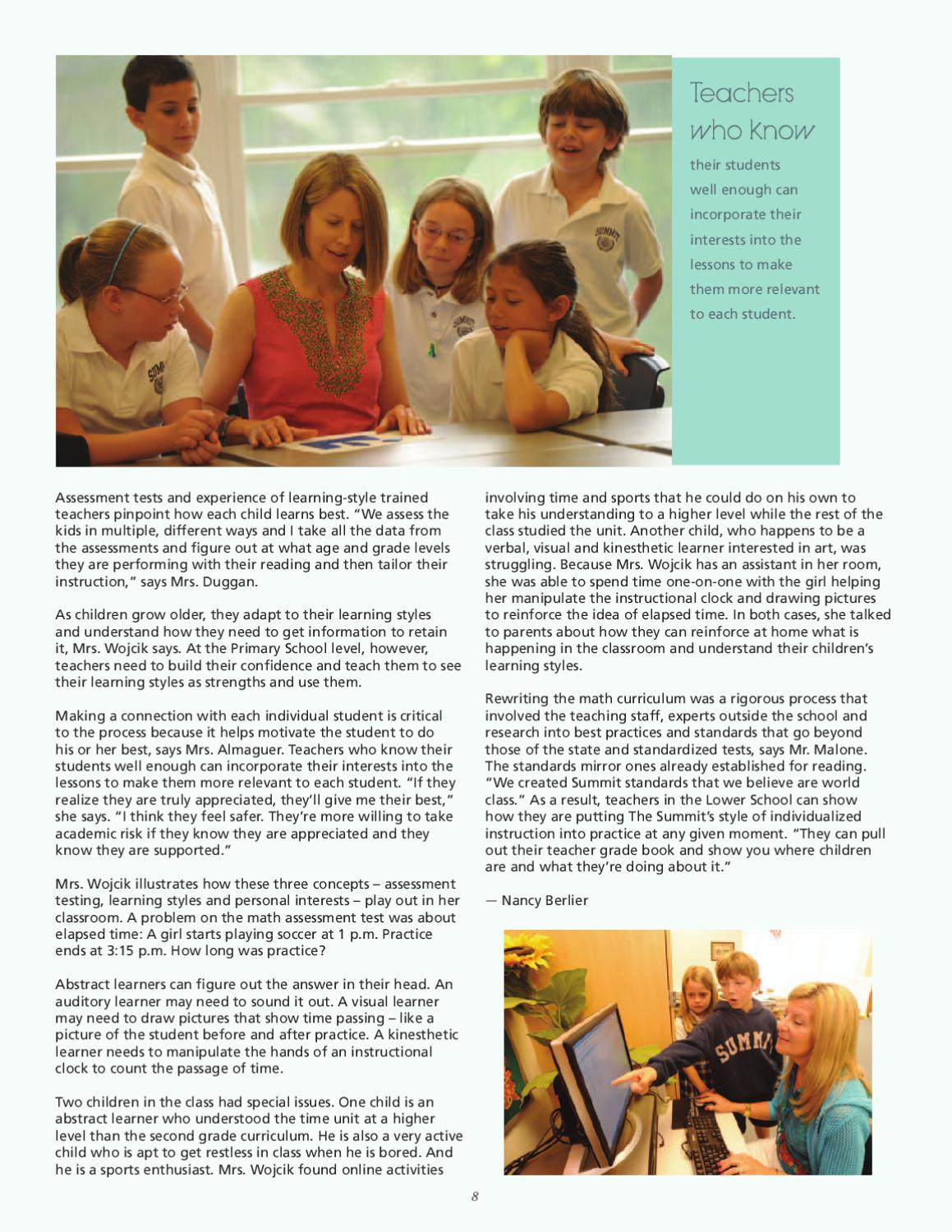Enough With Learning Styles Already >> Annual Report 2009 2010 By The Summit Country Day School Issuu